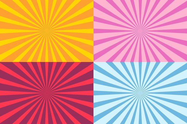 Set of sunburst ray Premium Vector