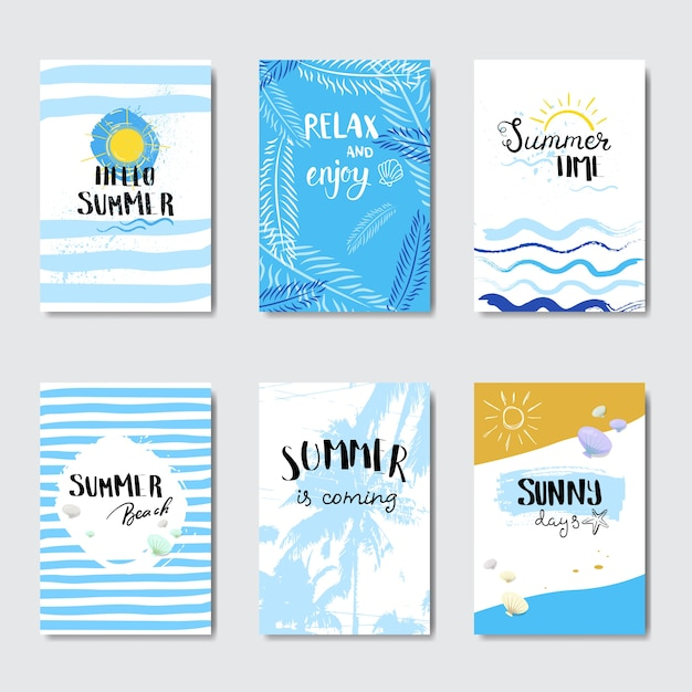 Set sunny beach badge isolated typographic design label Premium Vector