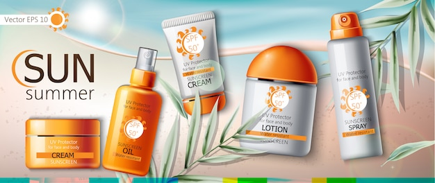 Set of sunscreen cream, lotion, spray and oil. uv protection. water resistant. realistic. beach and leaves background Free Vector