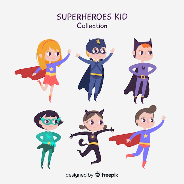 Set of superhero kids Free Vector