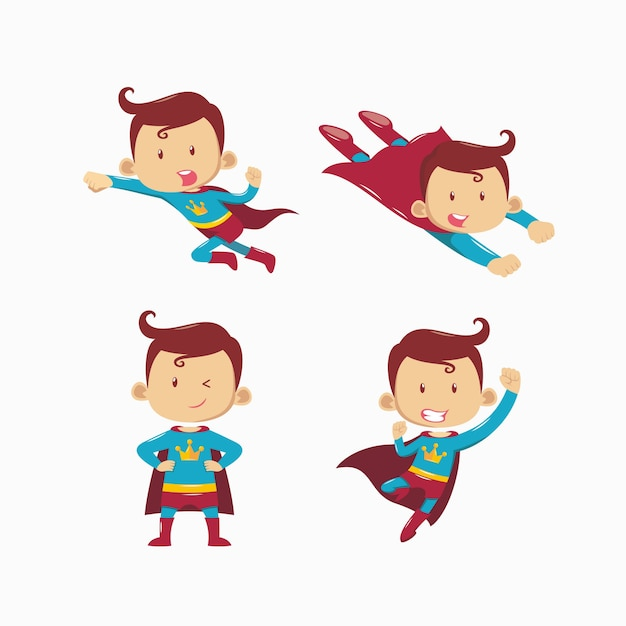 Set of superhero Premium Vector