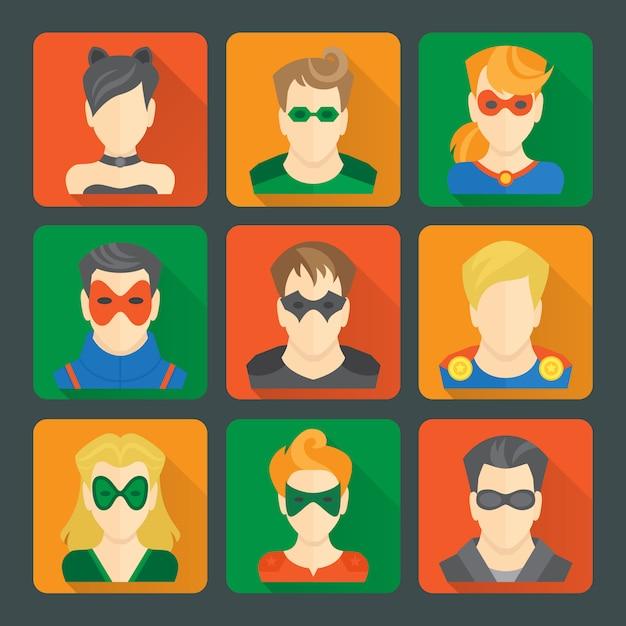 Set of superheroes stickers Premium Vector
