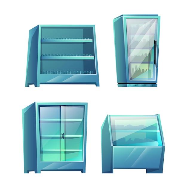 Set of supermarket storage shelves isolated on white Free Vector
