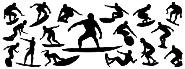 Set of surfer silhouette Premium Vector