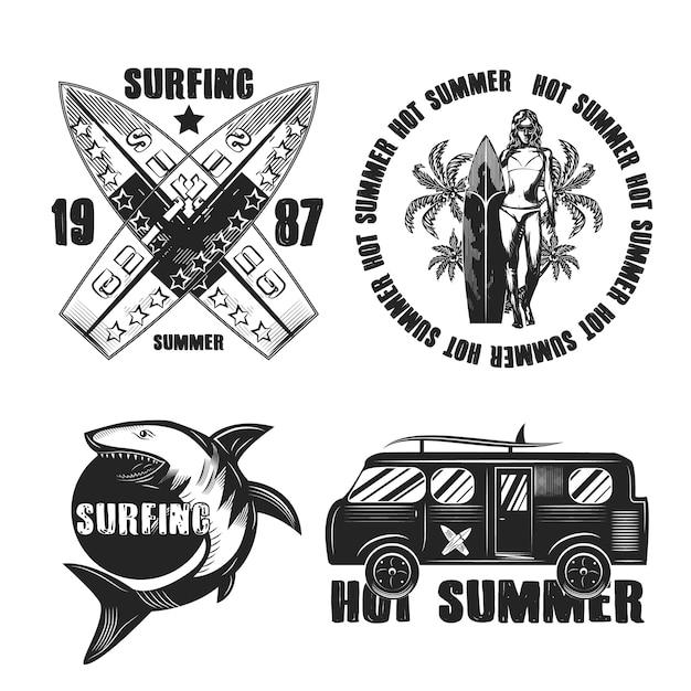 Set di surf emblemi vintage isolato su bianco Vettore gratuito