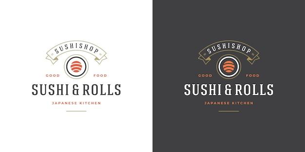 Set of sushi and japanese restaurant logos Premium Vector