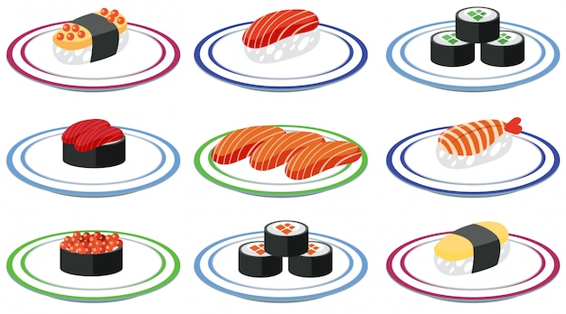 Set of sushi on plate Free Vector