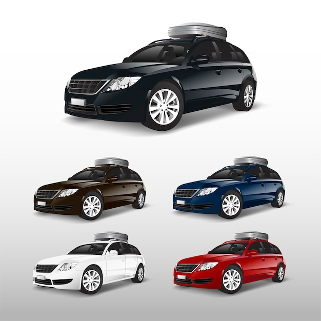 Set of suv cars with a roof storage box Free Vector