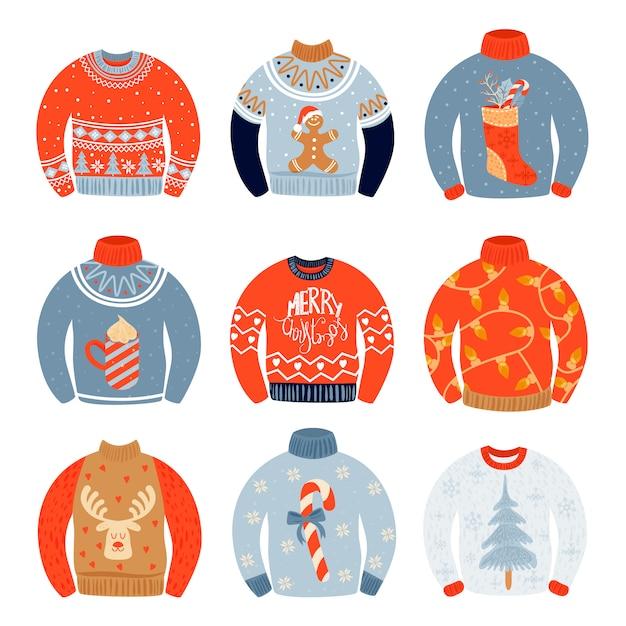 Set of sweaters. Premium Vector