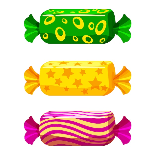 A set of sweet candies in a package of different colors Premium Vector