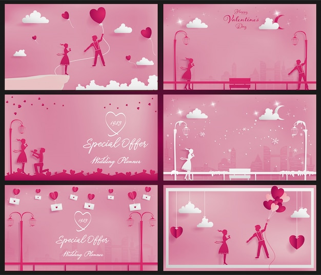 A set of sweet couple background on the pink theme as paper craft style Premium Vector