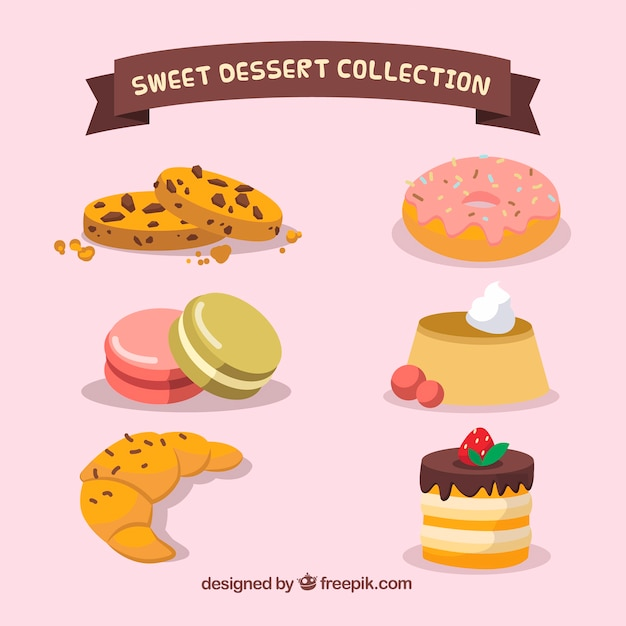 Set of sweet desserts in 2d style Free Vector
