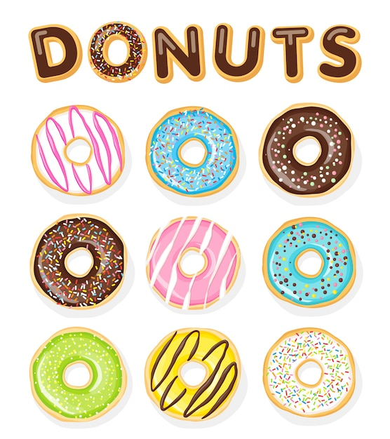 Set of sweet donuts on the white .  food illustration. Premium Vector