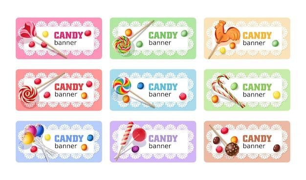 Set of sweet lollipop vector banners. Free Vector