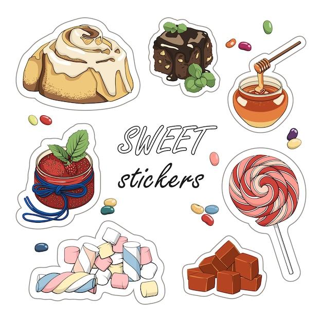 Set of sweet stickers. colourful illustration of dessert. Premium Vector