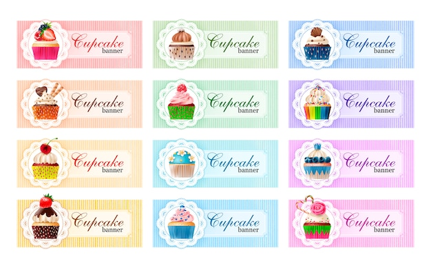 Set of sweet vector banners. Free Vector