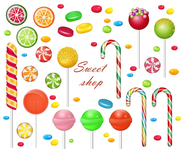 Set of sweets on white background. candies and snacks. - hard candy, candy cane, lollipop. Premium Vector