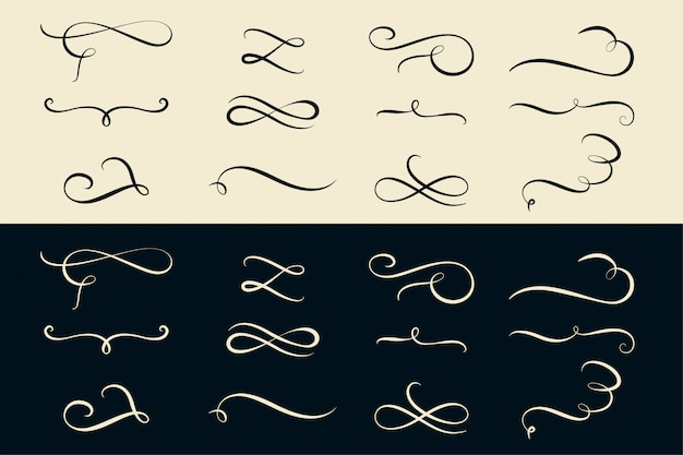 Set of swirl ornamental dividers collection Free Vector