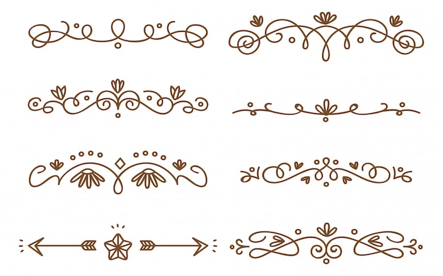 Set of swirly decorative dividers Premium Vector