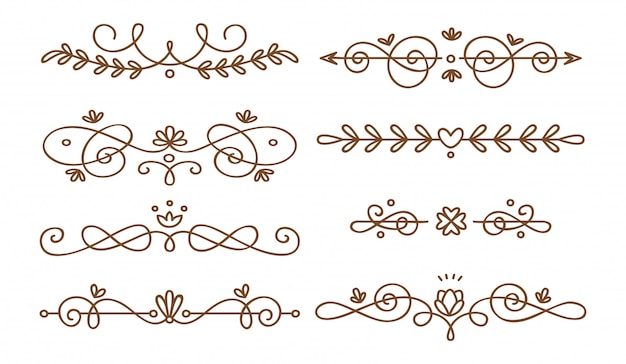 Set of swirly decorative dividers Premium Vector