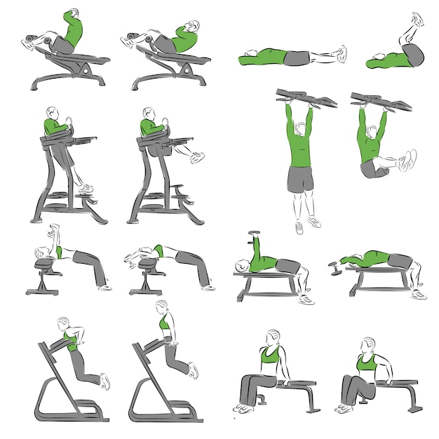 Set of systematic bodybuilding exercises for basic equipment Vector