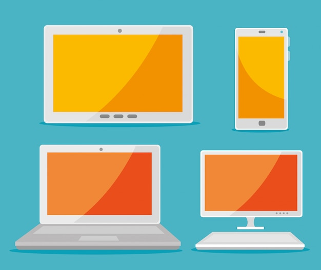 Set tablet with smartphone and laptop with computer technology Free Vector