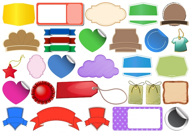 Set of tag label Free Vector
