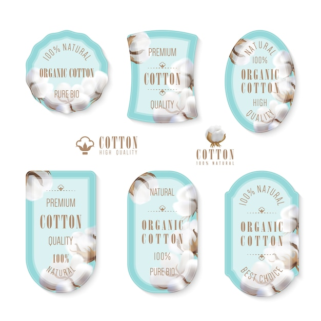 Set of tags and logo for cotton manufacture Premium Vector