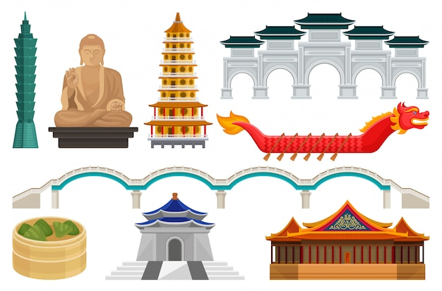 Set of taiwan national cultural symbols. famous architecture and tourist attractions, asian food, dragon boat and bridge Premium Vector