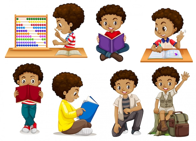 Set of tanned boy Free Vector