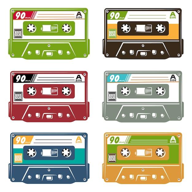 Set of tape cassette Free Vector