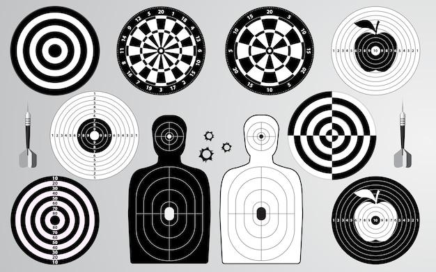 Set of target shooting range, dartboard, archery. Premium Vector