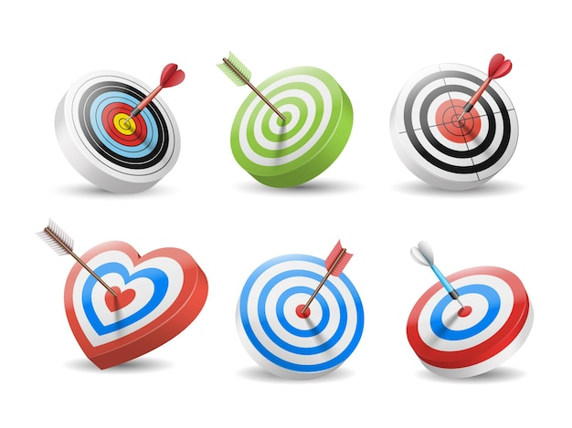 Set of targets and arrows in bullseye isolated. dart and archery arrows in center of targets. Premium Vector