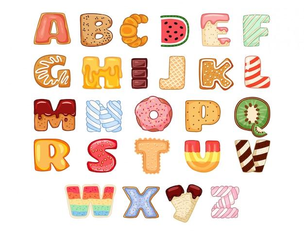 Set of tasty alphabet letters Premium Vector