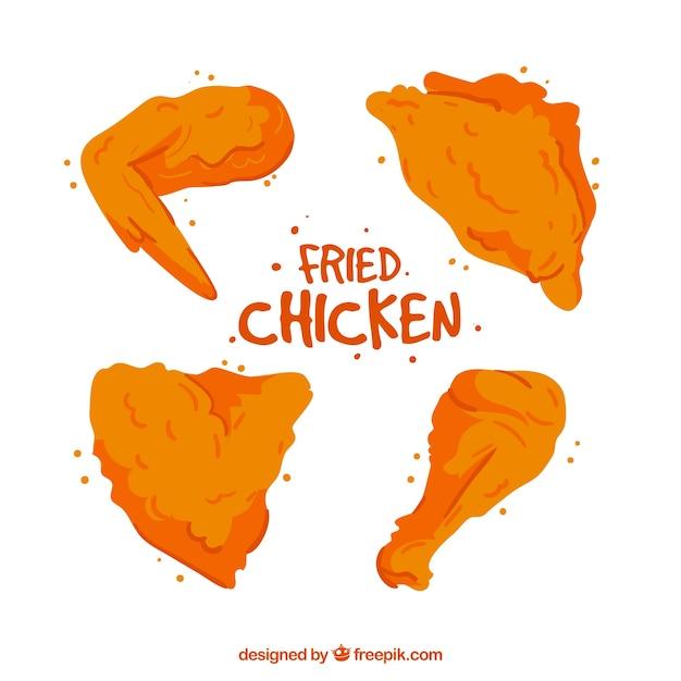 Set of tasty hand-drawn fried chicken Premium Vector