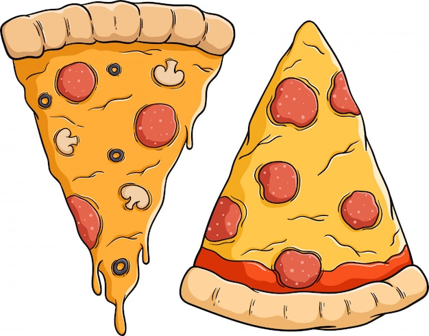 Set of tasty pizza slice with pepperoni topping Premium Vector