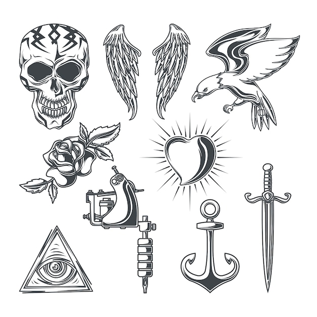 Set of tattoo elements Free Vector