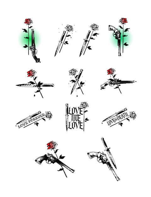 Set of tattoo illustrations, pistols, knives and roses Premium Vector