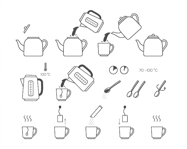 Set of tea instruction icons. steps how to cooking tea. Premium Vector
