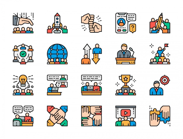 Set of teamwork flat color icons. Premium Vector