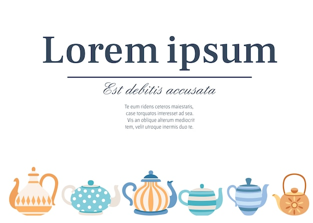 Set of teapots with cute patterns. tea-set cartoon style .  vector illustration on white background. place for text Premium Vector