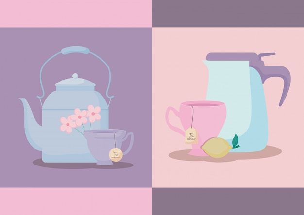Set of teapots with tea cups isolated Premium Vector