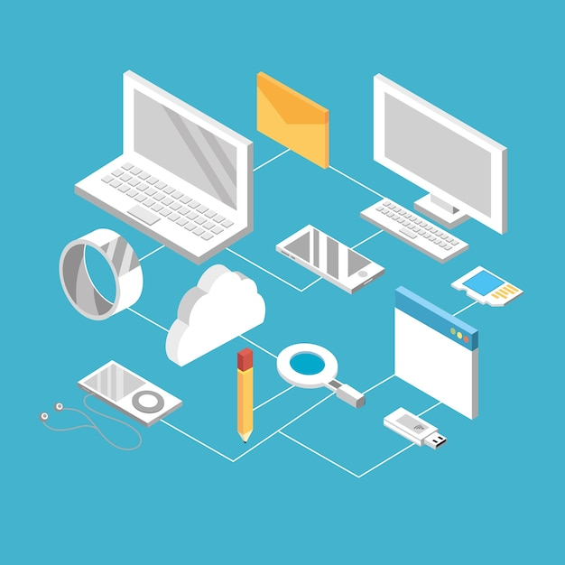 Set technogies with data services conecction Premium Vector