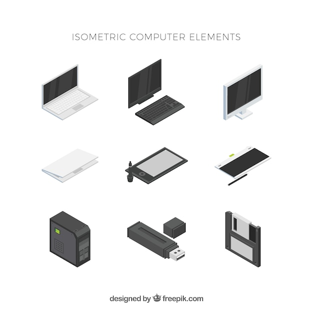 Set of technological elements with isometric view Free Vector