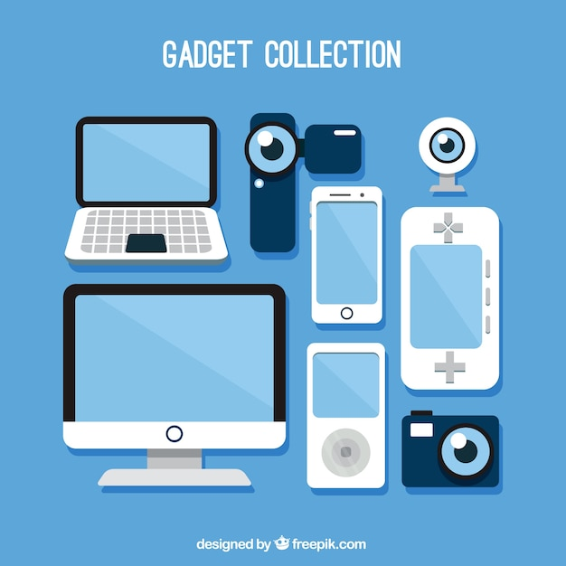 Set of technological gadgets Free Vector