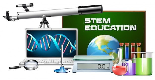 Set of technology object stem education Free Vector