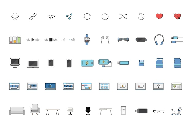 Set of technology vectors Free Vector