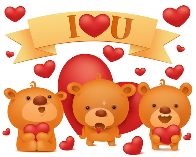 Set of teddy bear emoji characters with red hearts. valentines day vector collection Premium Vector