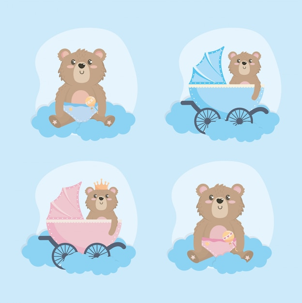 Set of teddy bear with carriage and rattle Free Vector