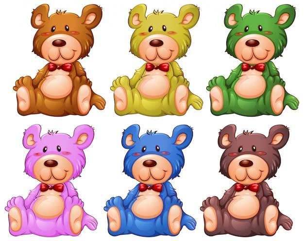 Set of teddy bear Free Vector